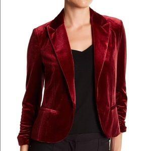 NWT Amanda+Chelsea Burgundy Velour Tuxedo Jacket L